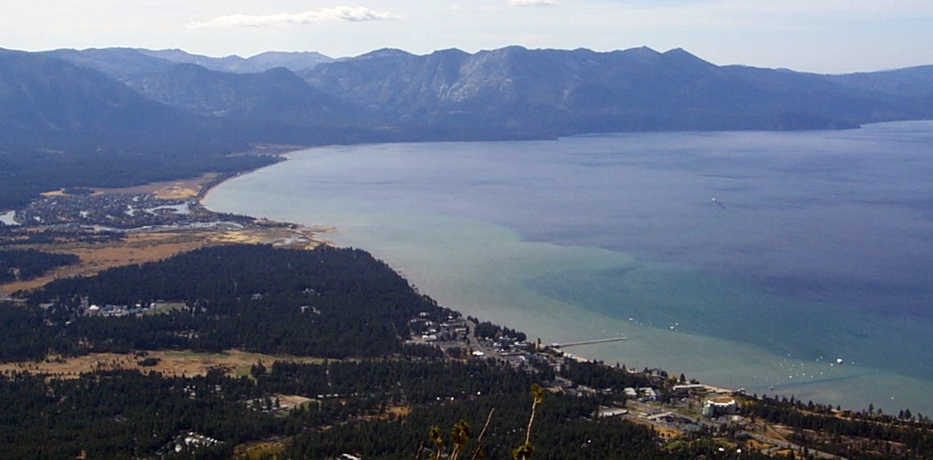A view of Lake Tahoe from the top of the mountain near Heavenly Ski Resort