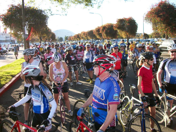 The riders lining up for the 61 mile ride start at 7:30 am on May 1st, 2011