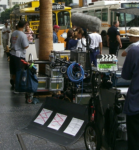 A crew shooting a scene on Hollywood Blvd.