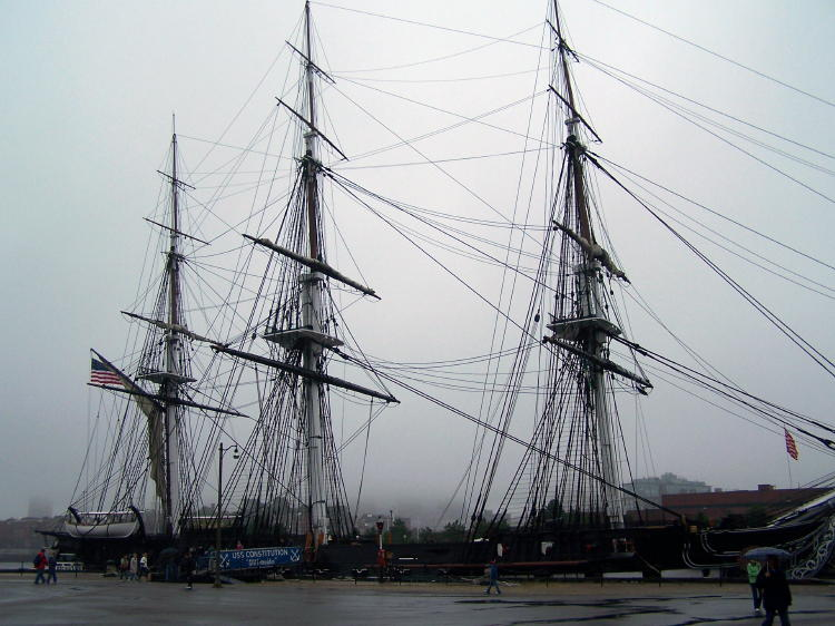 USS Constitution berthed on the waterfront of Boston, MA