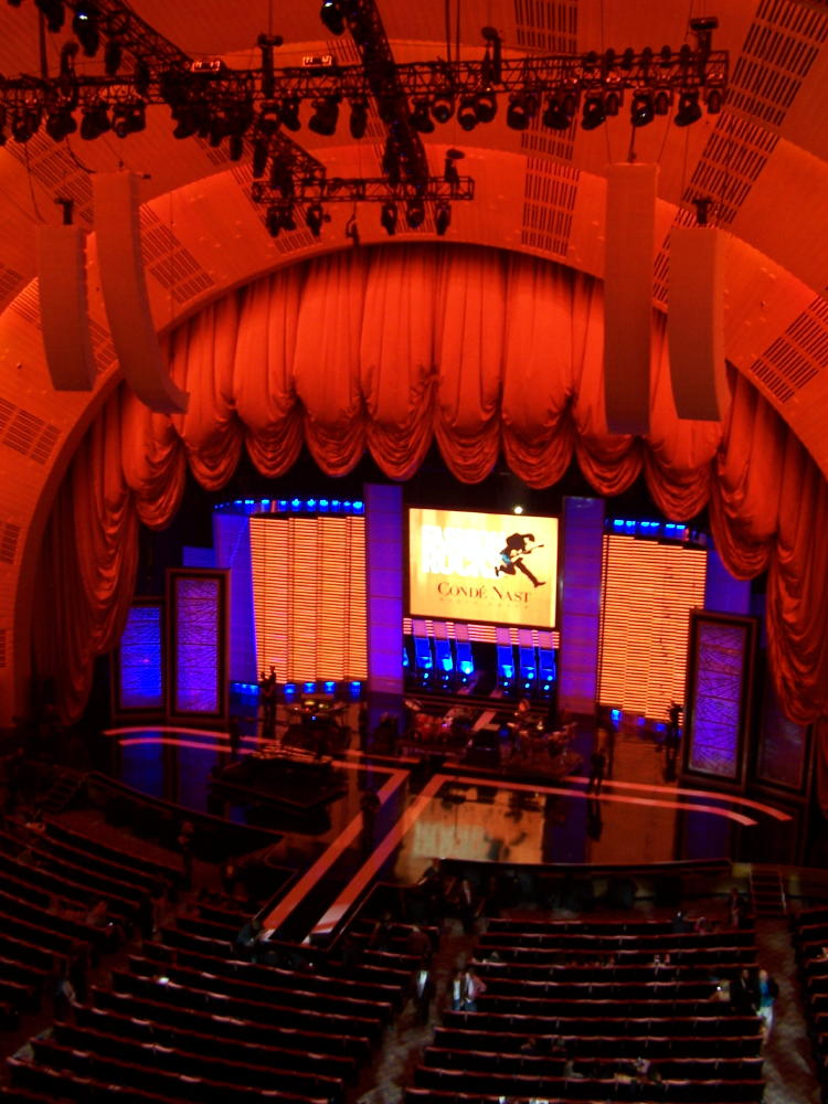 A view of the stage from our seats on the third deck.  Every seat is good at Radio City Hall.